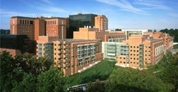 Aerial view of the NIH Clinical Center buildings.