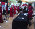 2010 Road Show - Blood pressure testing and a BMI station are set up for women who will attend The Heart Truth Road Show in Houston, TX.