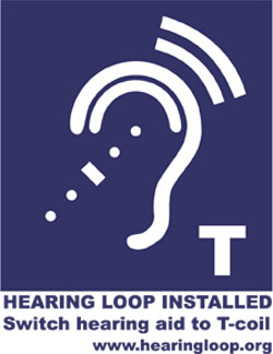 Hearing Loop Installed. Switch hearing aid to T-coil, www.hearingloop.org