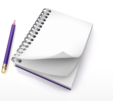 Image of a pencil and notepad