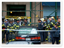 This is an image of first responders in Lower Manhattan.
