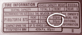 photo - closeup of tire information label on vehicle