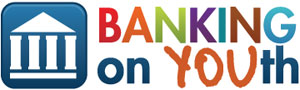 Image of a bank, followed by the words Banking on Youth.
