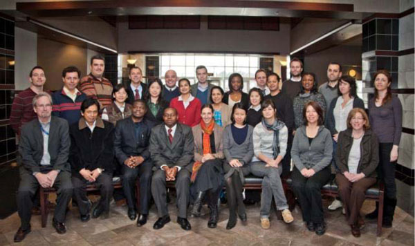 NIDA International Program Director Dr. Steve W. Gust, bottom row far left, and Ms. Dale Weiss, Associate Director, bottom row far right, welcome new 2011 Hubert H. Humphrey, INVEST, and INVEST-CTN Fellows.