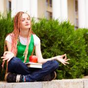 A girl meditating.