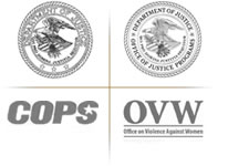 Department of Justice, COPS, and Office of Violence Against Women logos.
