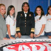 SADD Florida advisor Sherry Viersen (far left) and teen ambassadors Naya Zapata, Destiny Ramos, and Julissa Pardomo are joined by U.S. Surgeon General Regina M. Benjamin, M.D., M.B.A. (center).