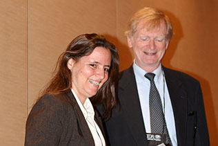 Thomas F. Babor, University of Connecticut, presenting Monica Malta, Brazil, with ISAJE/WHO Young Scholars award.