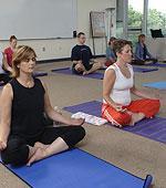Yoga students practicing meditation