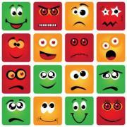 Various crazy, cartoon faces.