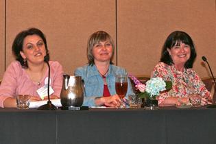 Left to right:  Irma Kirtadze, M.D., Georgia  Olga Toussova, Ph.D., Russia  Trecia Wouldes, Ph.D., New Zealand