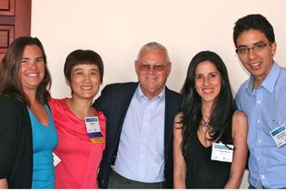 Left to right:  A. Jeanene McCoy-Bengoa, University of Miami  Min Zhao, China  Clyde McCoy, University of Miami  Ana Maria Bueno, Colombia  Juan Camilo Varon Forero, Colombia