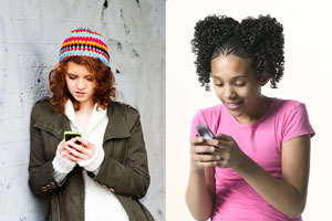 Two photographs of young ladies typing and reading on smart phones.