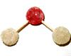 Dos gomas blancas (hidrógeno), unidas por mitades de palillo a dos gomas rojas (oxígeno).