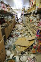 A magnitude 7.2 earthquake struck this market on Easter Sunday leaving a trail of broken merchandise and products on the floors