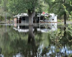 A home surrounded and submerged in flood waters
