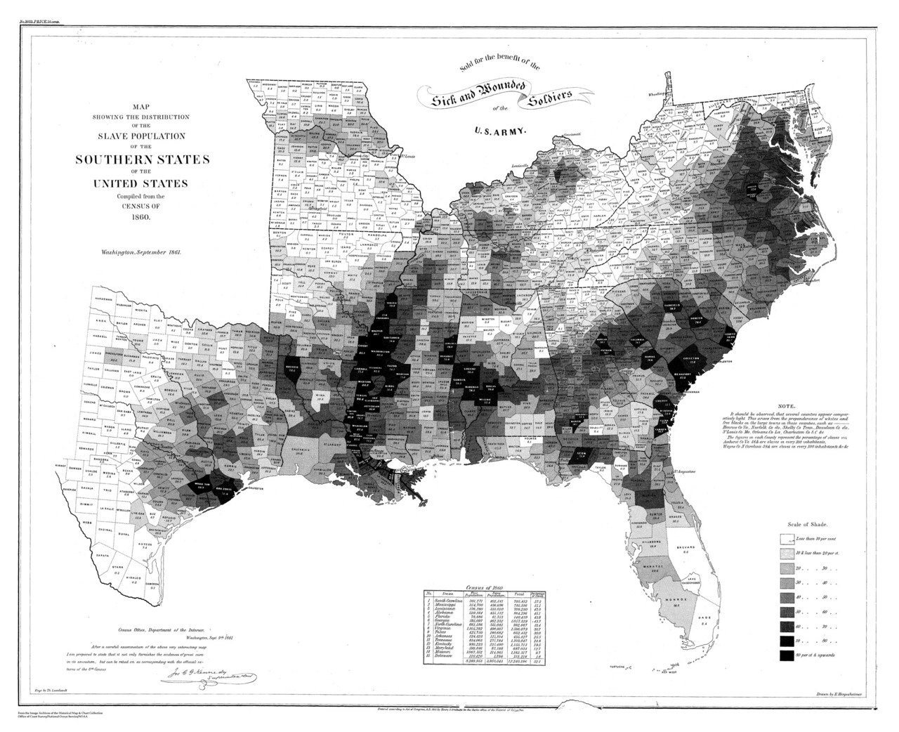"""The Civil War started 150 years ago today. Learn how the map shown above informed the military strategy to end slavery:  Commercial lithographer Henry S. Graham printed this choropleth map showing the distribution of the slave population in September 1861. The map shows in graphic terms the density of the slave population in the Southern states, based on figures from the 1860 census. Although the development of this map was a collaborative government effort, cartographers working for Edwin Hergesheimer, U.S. Coast Survey Drafting Division, created it. The development of this map was revolutionary for its time for several reasons. First, it was among the first of its kind, initiating a trend of statistical cartography in the United States that allowed the thematic mapping of larger social, political, and cultural trends. Second, this map represented an early use of statistical information from the census. Third, new techniques in shading developed by Hergesheimer were a path-breaking application of these new techniques to human geography. Finally, its makers went as far to use """"moral statistics"""" in order to affect political change. … The map was created to understand the secession crisis, by providing a visual link between secession and slavery. The mapmakers consciously limited the map to just the Southern states, including the Border States of Maryland, Virginia, and Kentucky, but not the Western slave states of Nebraska, New Mexico, and Utah. During and after the war, the map then could be used by the Union to argue that the destruction of the Confederacy meant the destruction of slavery. There is a strong message in the banner at the top of the map that reads """"For the Sick and Wounded Soldiers of the U.S. Army."""" According to artist Francis Bicknell Carpenter, this map was frequently consulted by President Abraham Lincoln in considering the relationship between emancipation and military strategy. Carpenter took up residence at the White House in February 1864 to p"""
