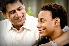 Parent talking to teen