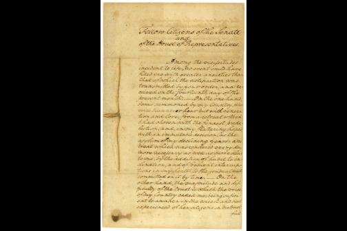 Page One of George Washington's First Inaugural Address