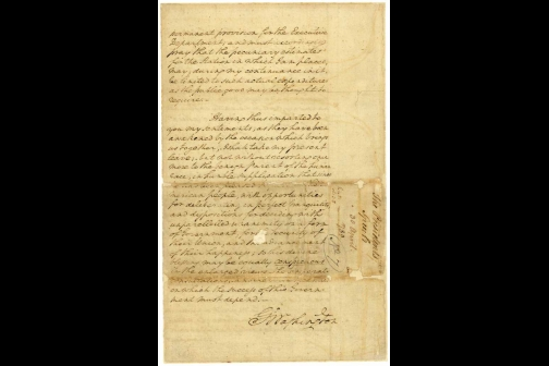 Page Eight of George Washington's First Inaugural Address
