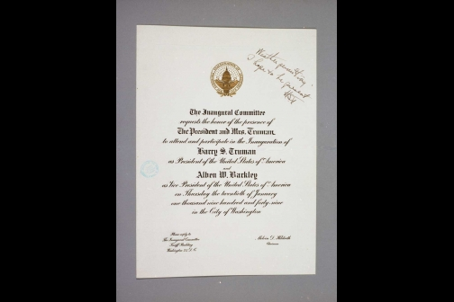 Invitation to the 1949 Inauguration of Harry S. Truman Addressed to The President and Mrs. Truman