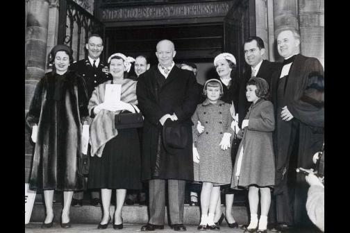 President Dwight D. Eisenhower and Vice President Richard Nixon Leaving National Presbyterian Church