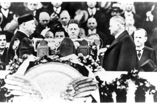 Herbert Hoover Takes the Oath of Office