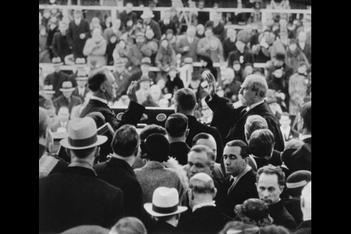 Franklin D. Roosevelt Takes the Oath of Office at his First Inauguration