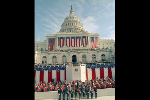 Ronald Reagan Gives the Inaugural Address from the U.S. Capitol