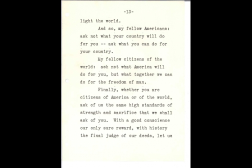 John F. Kennedy's Reading Copy of the Inaugural Address