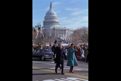 Jimmy and Rosalynn Carter Walk Down Pennsylvania Avenue During the 1977 Inaugural Parade