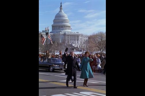 Jimmy and Rosalynn Carter Walk Down Pennsylvania Avenue During the 1977 Inaugural Parade