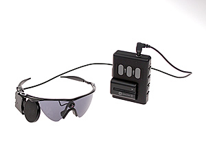 The Argus II consists of a miniature video camera mounted on a pair of sunglasses and a belt-worn processing unit.