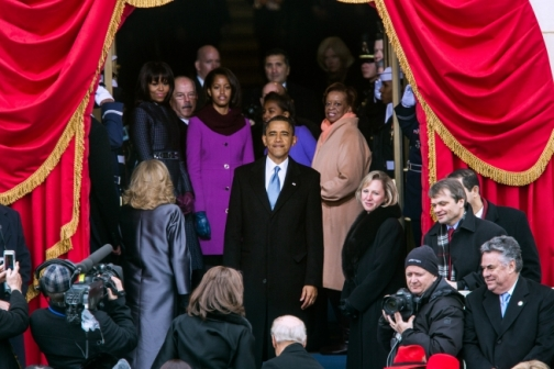 Barack Obama Pauses to Look Back at the Scene Before Leaving the Platform