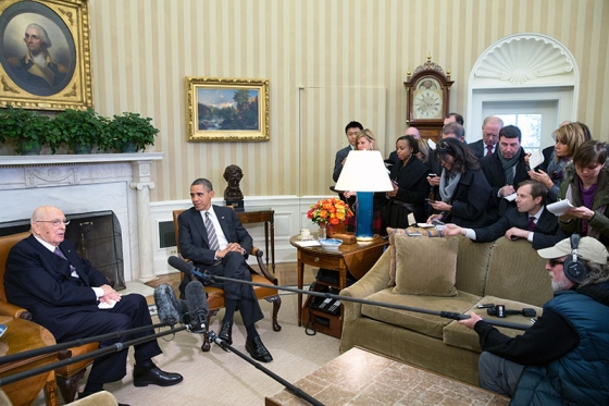 President Barack Obama and President Giorgio Napolitano of Italy, Feb. 15, 2013