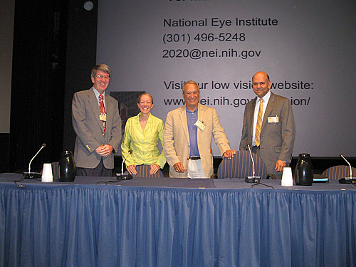 The panel of speakers from the Going Blind film event: (left to right) James T. Deremeik, Cheri Wiggs, Joseph Lovett, and Suleiman Alibhai.