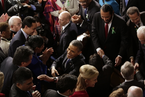 President Obama greets Members of Congress