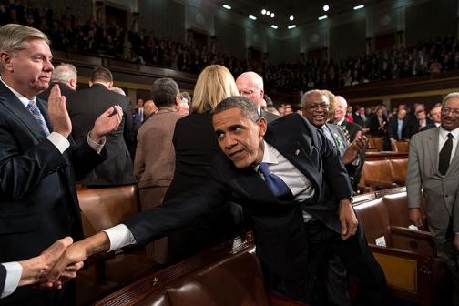 President Barack Obama Reaches to Shake Hands