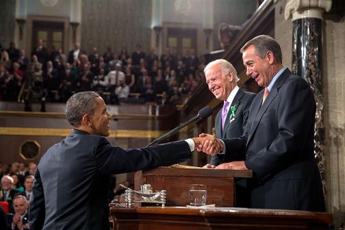 President Obama Greets VP Biden and House Speaker Boehner
