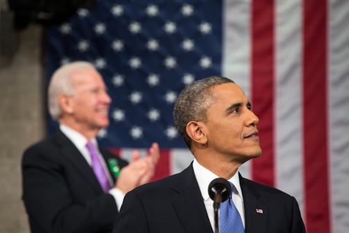President Obama and VP Biden Look Toward their Wives