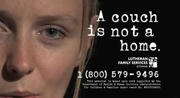 Screen shot of Lutheran Family Services PSA.