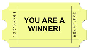 Image of a raffle ticket that reads, You Are a Winner.
