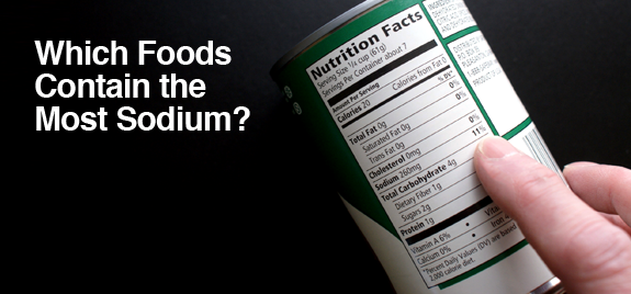Food label listing nutritional facts. Which Foods Contain the Most Sodium?