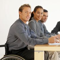 Students with one in wheelchair