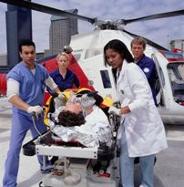 Patient transported by helicopter