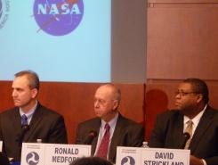 Photo of NHTSA Administrator David Strickland (right), Deputy Administrator Ron Medford (middle) and NASA principal engineer Michael Kirsch