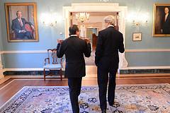 Secretary Kerry Chats With Executive Secretary Bass