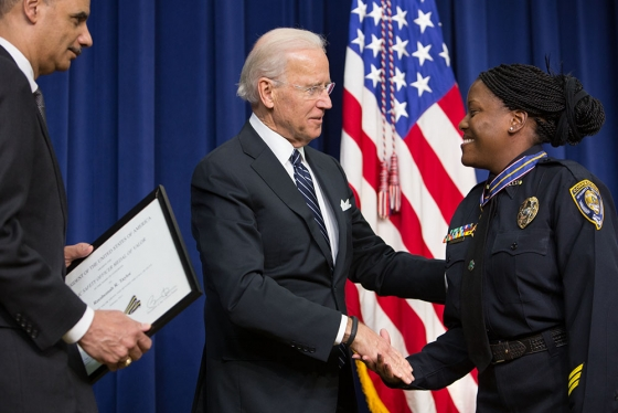 Vice President Joe Biden with Officer Reeshemah Taylor at a Medal of Valor ceremony, Feb., 20, 2013.