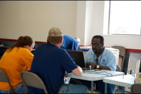 Survivors start the process of applying for disaster assistance with a FEMA Individual Assistance Specialist at a newly opened Disaster Recovery Center in Tennessee.
