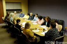 Photograph of people meeting at a conference table